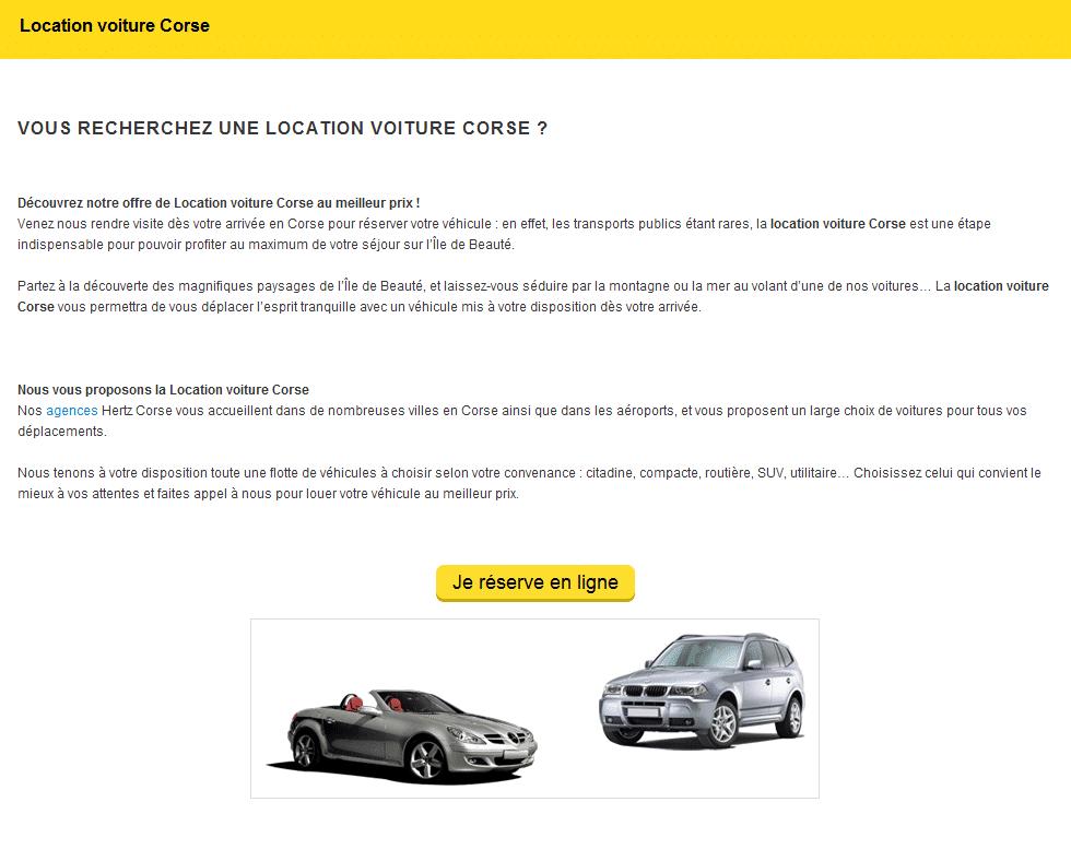 Landing Page Recherche Location voiture Corse