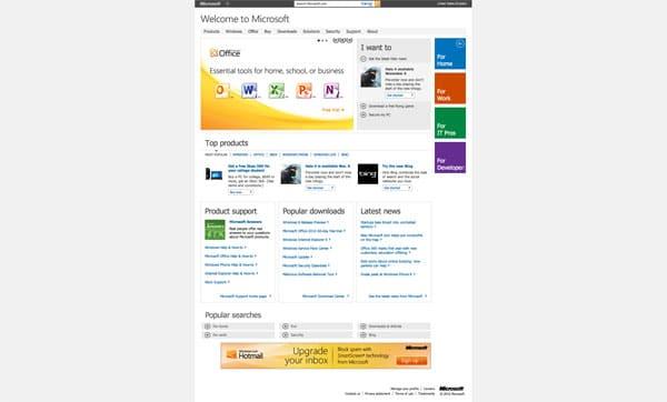 Site actuel de Microsoft (juillet 2012)