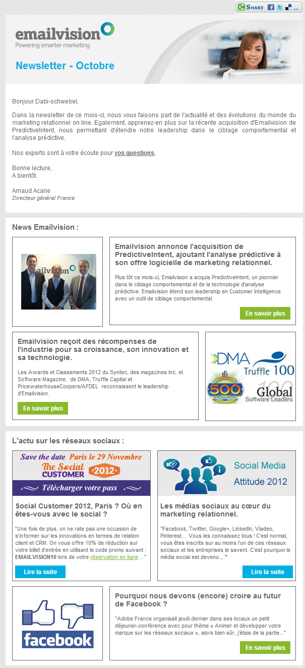 Newsletter d'octobre EmailVision