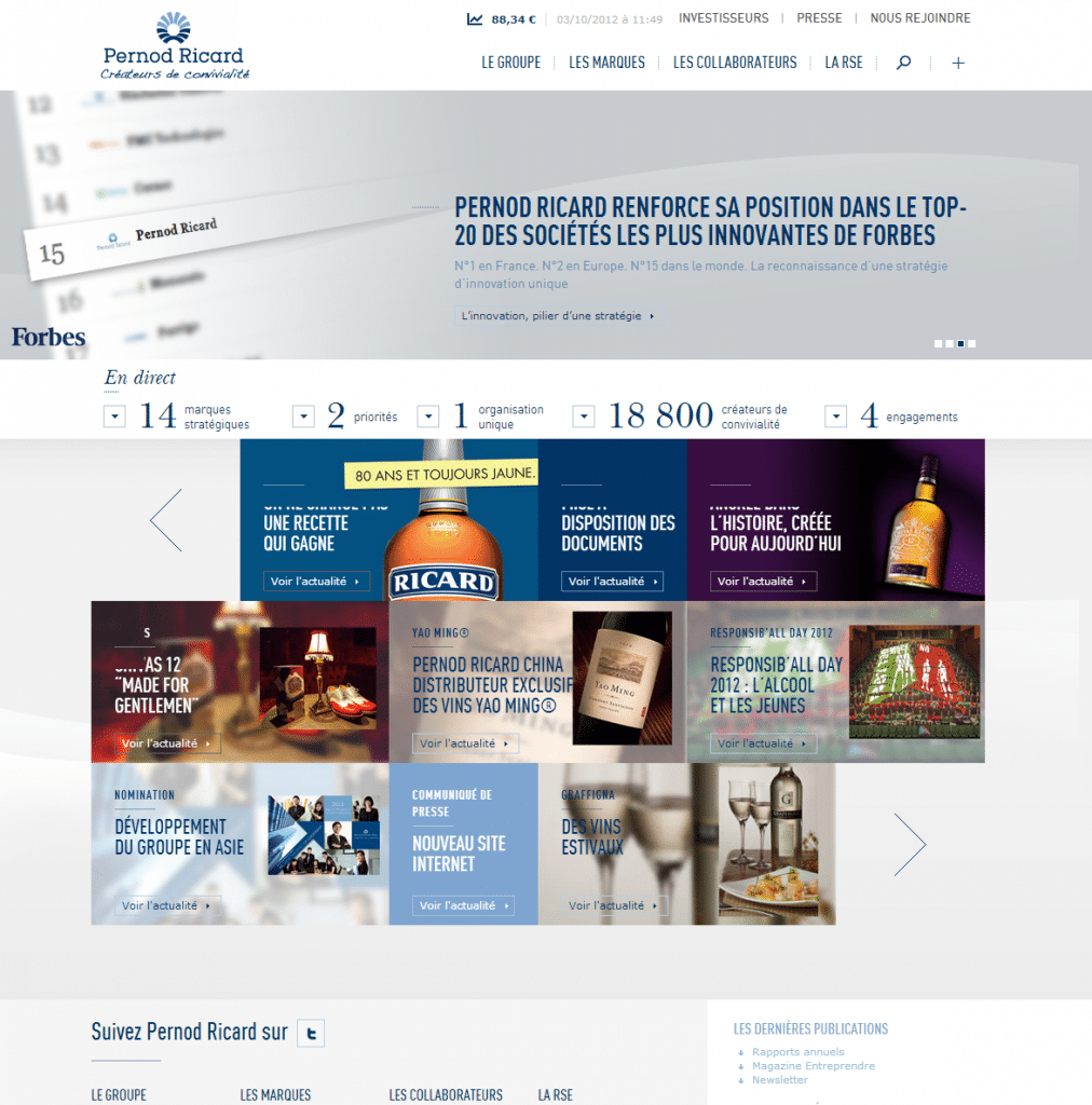Nouveau site institutionnel Pernod Ricard
