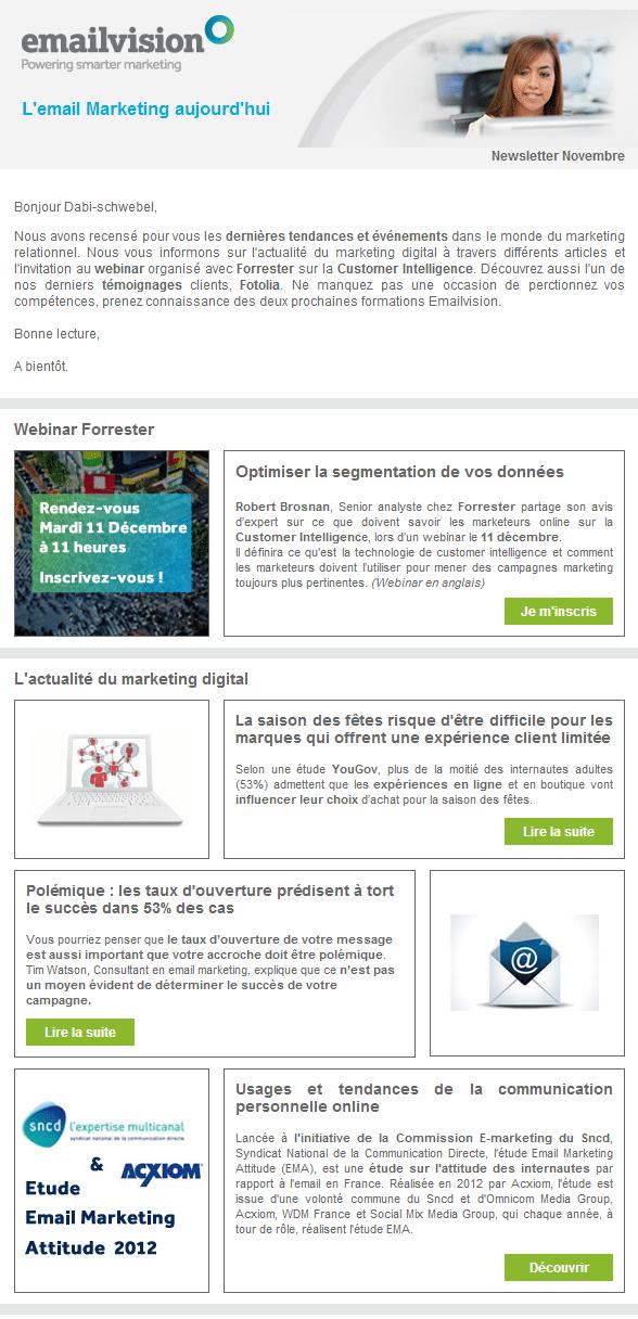 La newsletter d'Emailvision fait des progrès