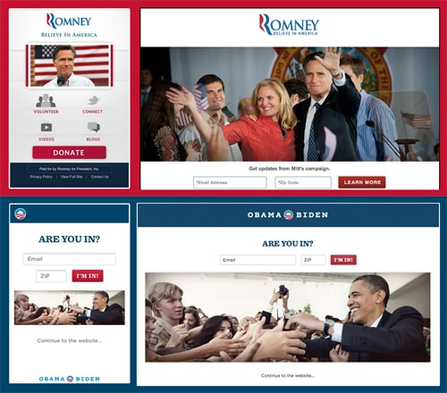 Site web de Romney et d'Obama