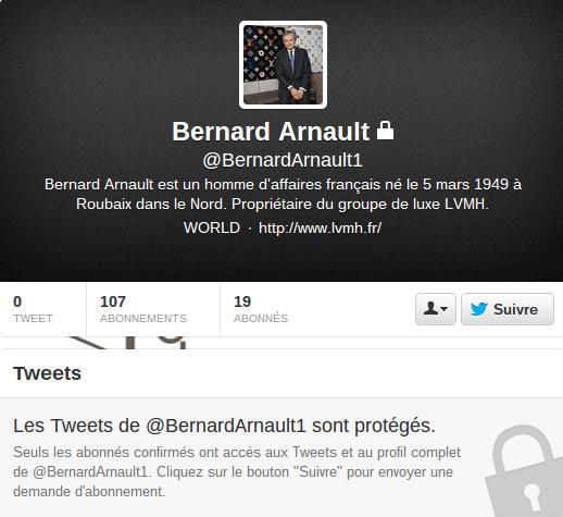 Compte Officiel de Bernard Arnault sur Twitter?