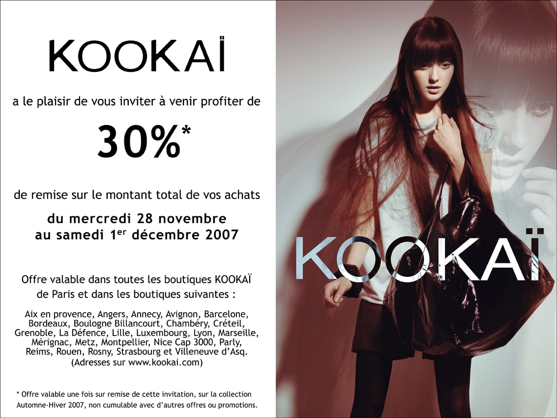 Marketing promotionnel: bon de réduction Kookaï