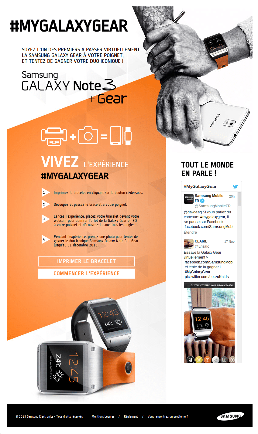 Jeux Facebook Galaxy Gear