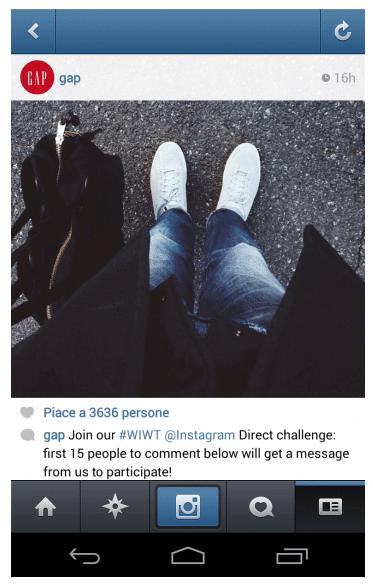 Campagne Gap sur Instagram