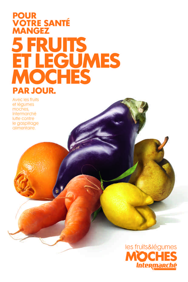Le marketing d'Intermarché: print fruits et légumes