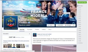Image de la Page Facebook de l'équipe de France de Football
