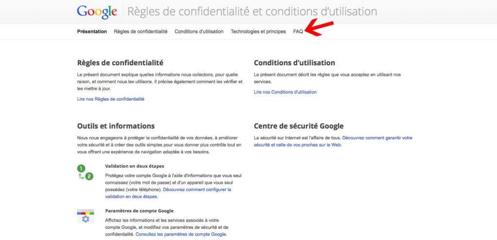 Cliquez sur FAQ dans la page Google