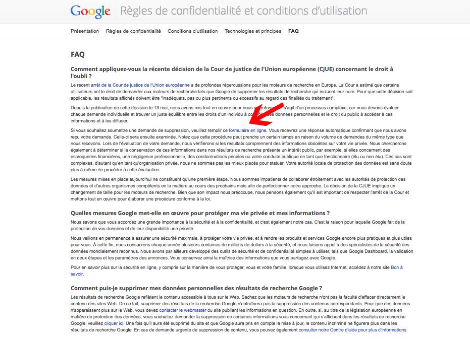 Cliquer sur formulaire en ligne dans droit à l'oubli de Google