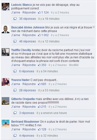 Le post Facebook de l'Equipe sur Facebook