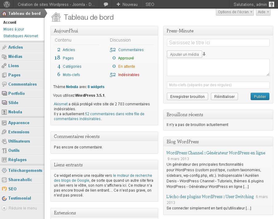 Wordpress tableau de bord