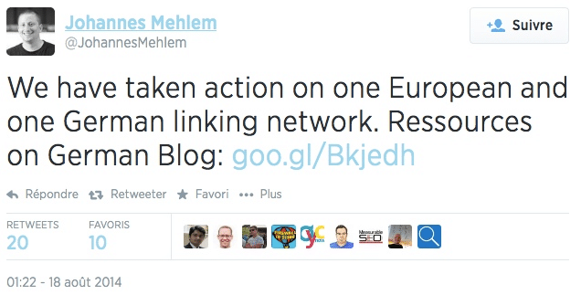 Tweet Google réseaux de liens