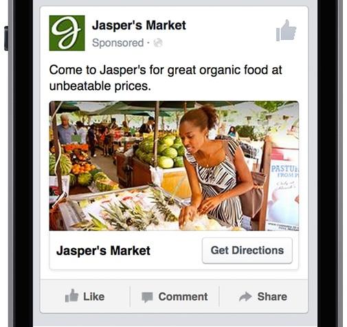 La publicité de Facebook avec géolocalisation pour les commerçants
