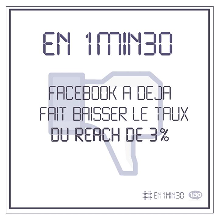 En 1min30, Facebook a déjà fait baisser le taux de reach de 3%