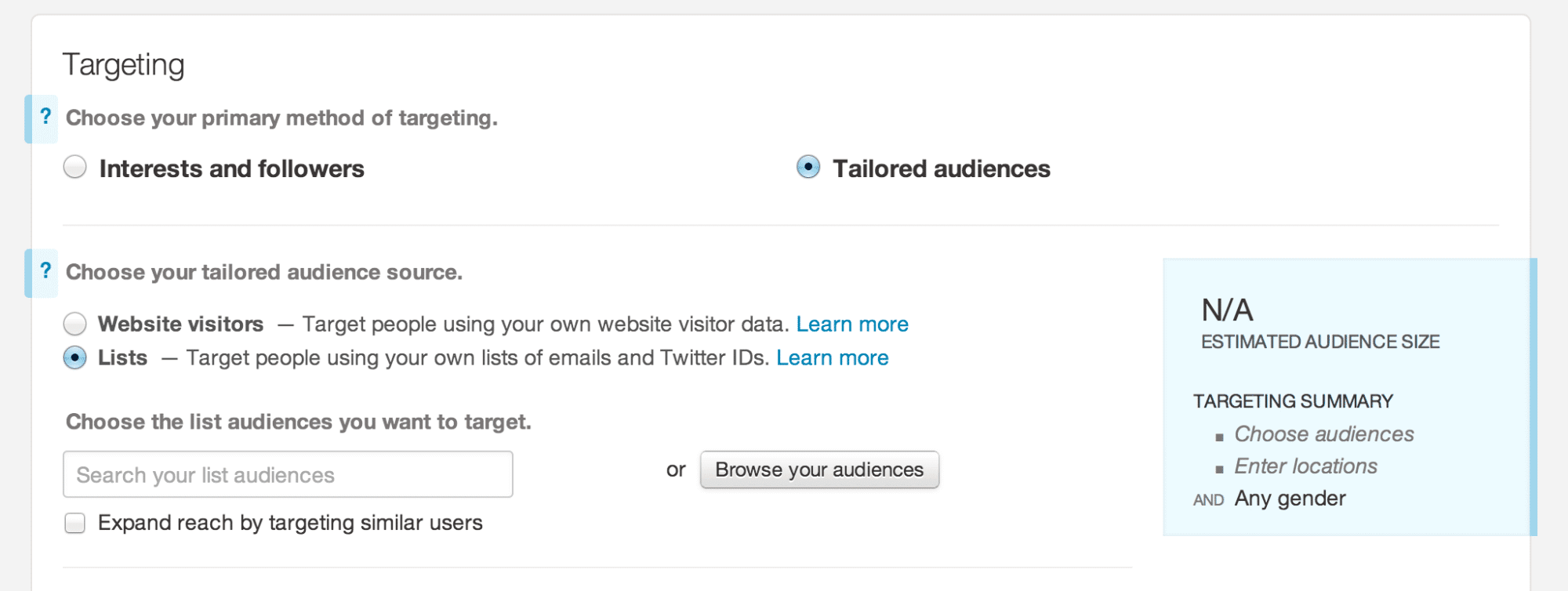 taylored audiences mailchimp