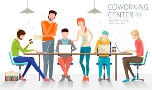 Le coworking est un espace de travail collectif partagé entre plusieurs créateurs; entreprenuers, start-ups  les « co-workers« , avec des équipements adaptés, des salles de réunion mais aussi des espaces de détente. C'est un lieu idéal de networking autour de la machine café,  des brunchs ou encore de brainstorming collectifs.