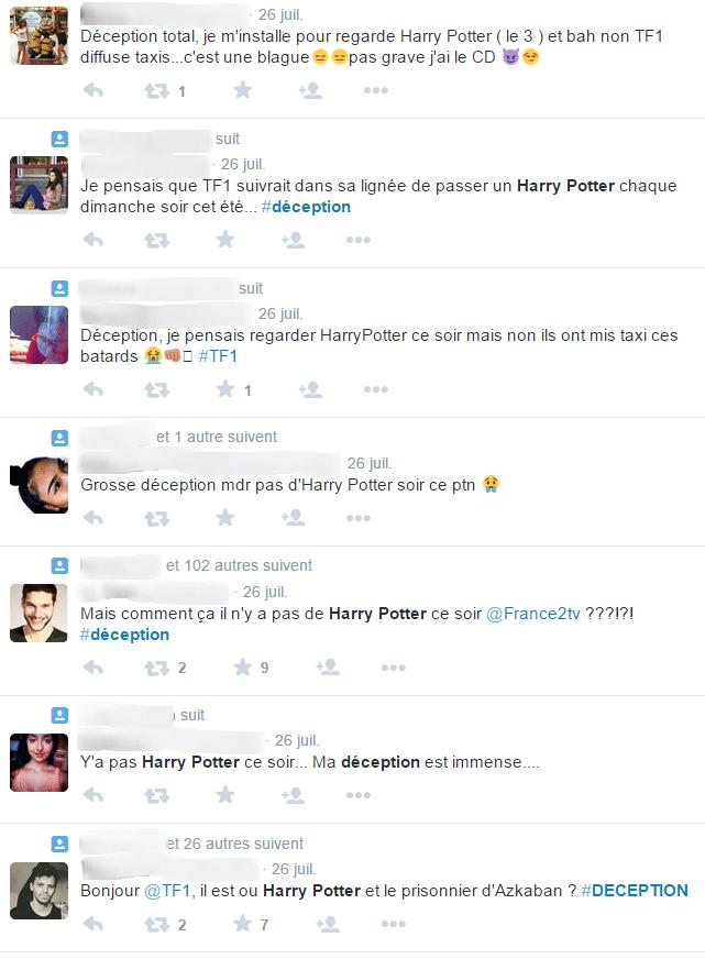 Réactions sur Twitter pour Harry Potter