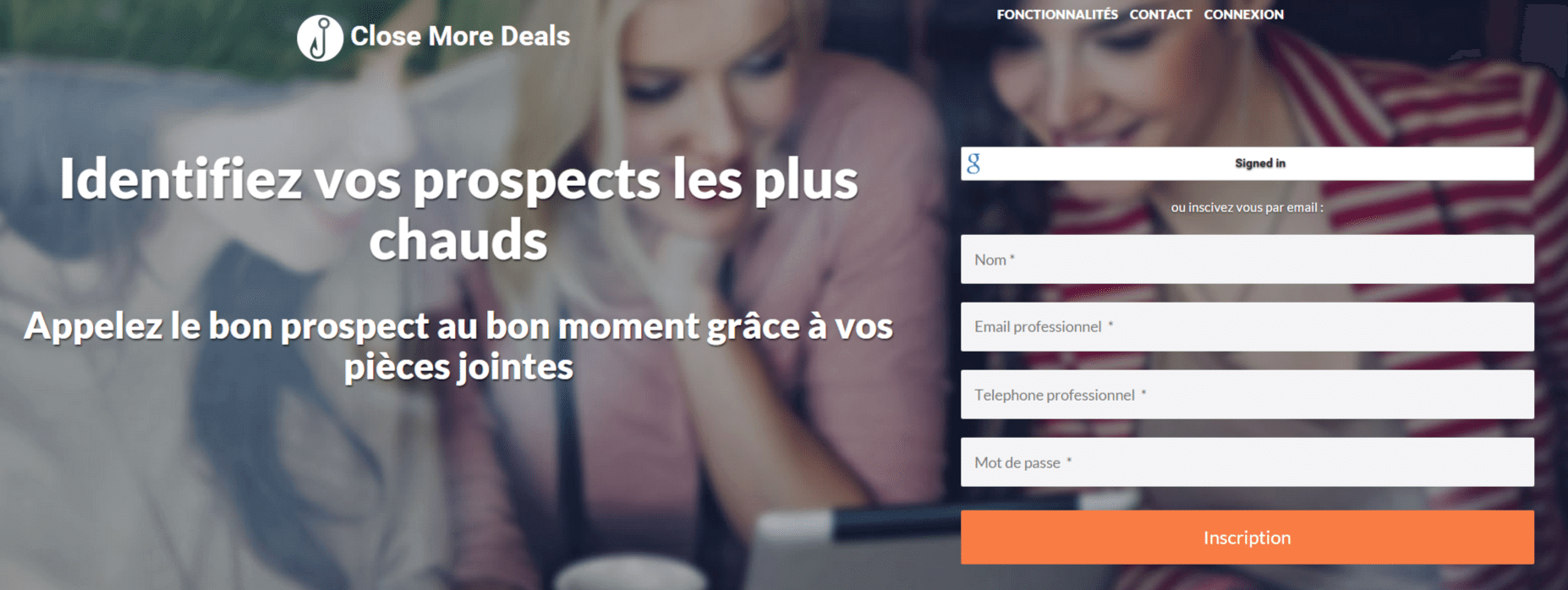 Home page du site Internet Close More Deals