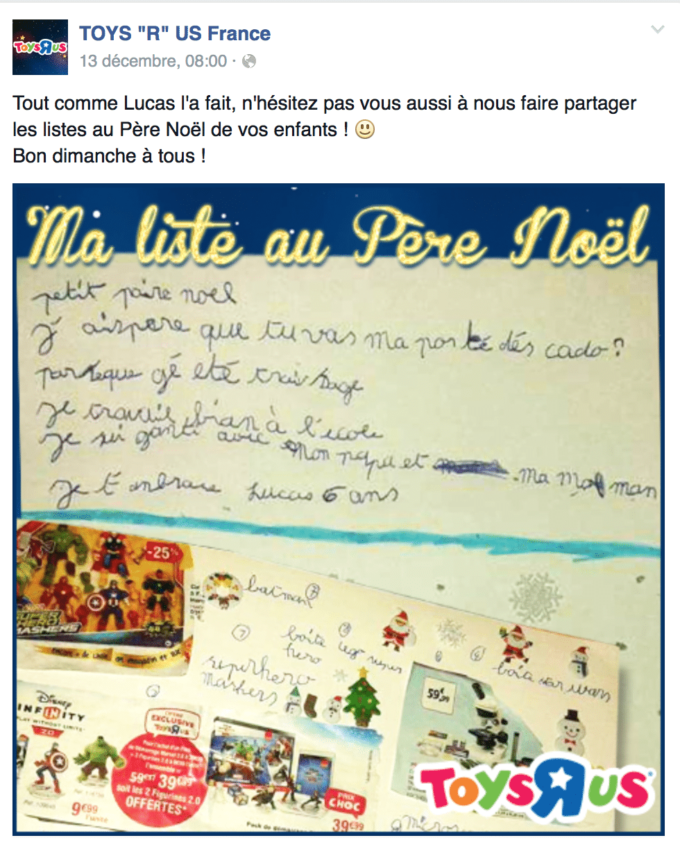 "Post Facebook Toy'R'US ""ma liste au père nôel"" - community management"