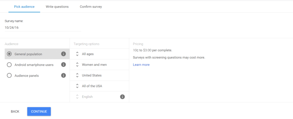 google rewards survey marketing