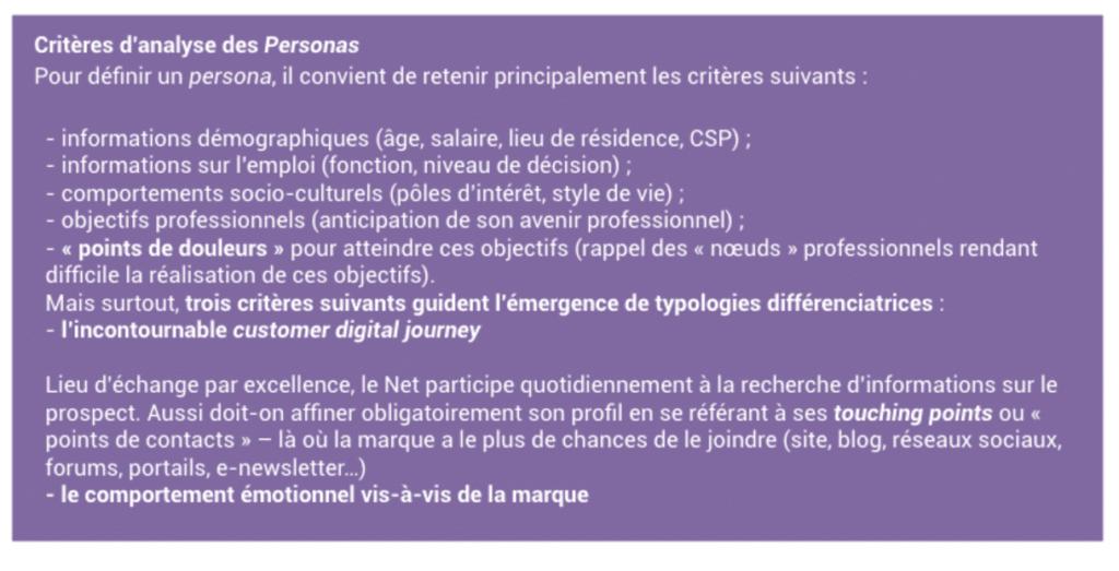 Critere analyse persona