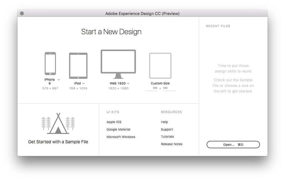 Les différents formats d'Adobe XD