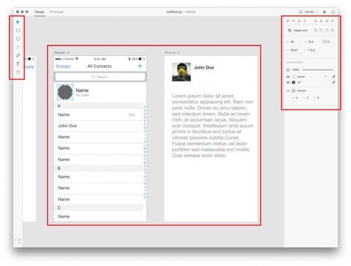 Adobe XD: une boîte à outils simple d'utilisation