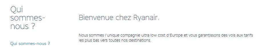 Page à propos de la compagnie low cost Ryanair