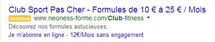 Annonce adwords neoness
