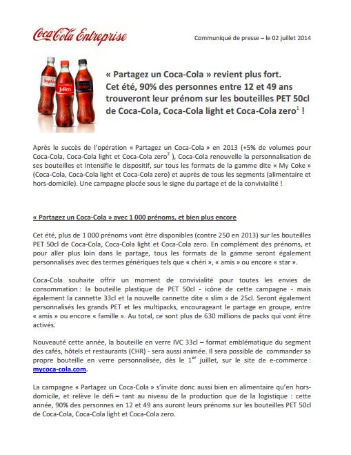 Communiqué de presse Coca-Cola