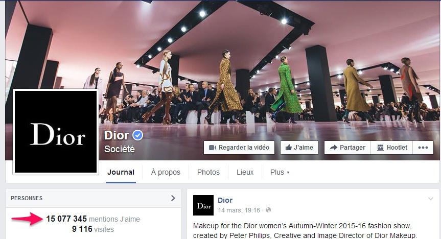 Dior sur Facebook