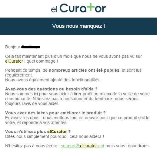 Elcurator emailing