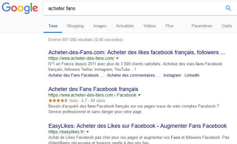 Acheter des fans sur Google