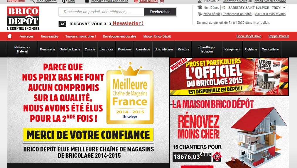 Home du site low cost Brico Dépot