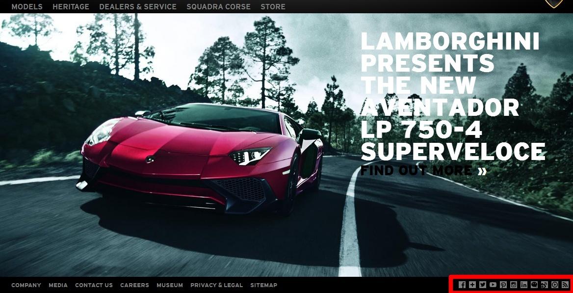 Lamborghini sur les réseaux sociaux