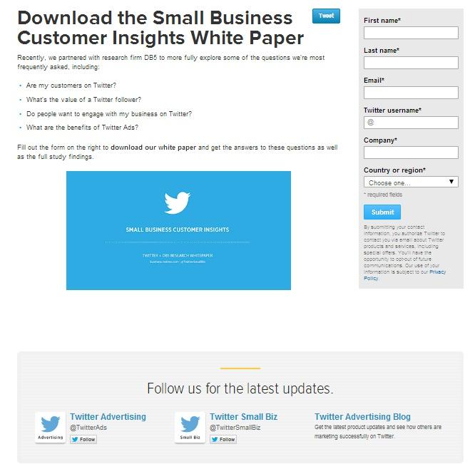 Landing page Twitter peu apte à convertir