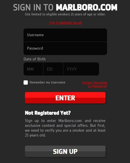 Marlboro site web interdit aux moins de 21 ans