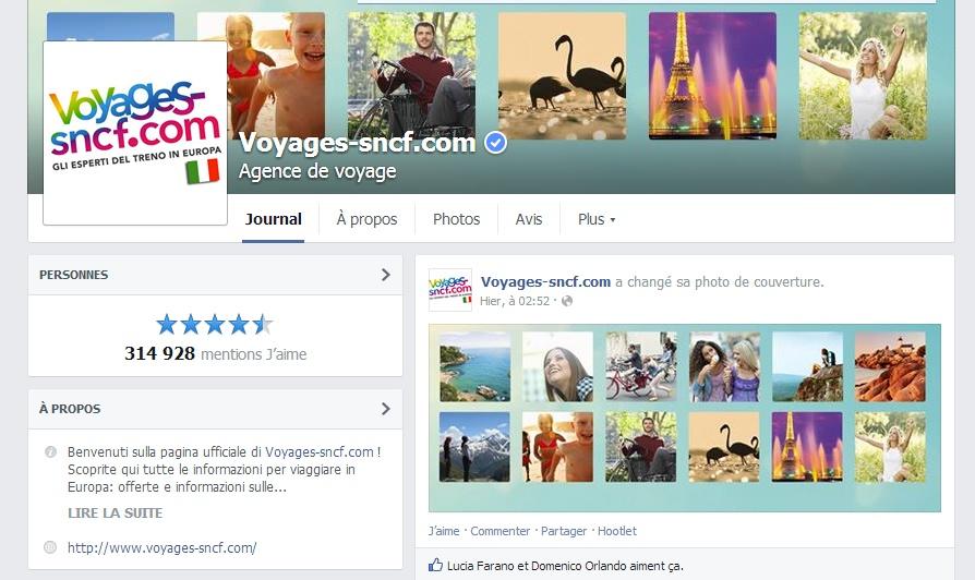 SNCF Facebook Italie