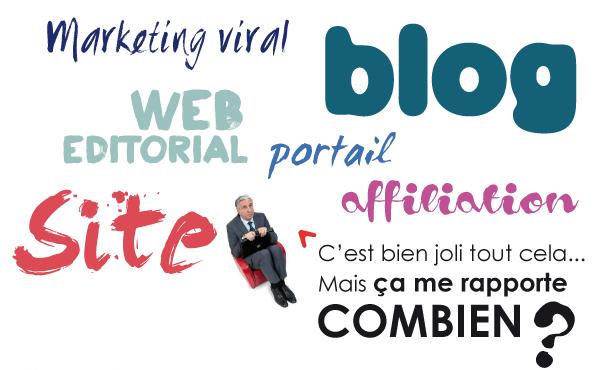 Site, blog, bannières, film viral, portail, web-éditorial... C'est bien joli tout cela…  mais ça me rapporte combien ?