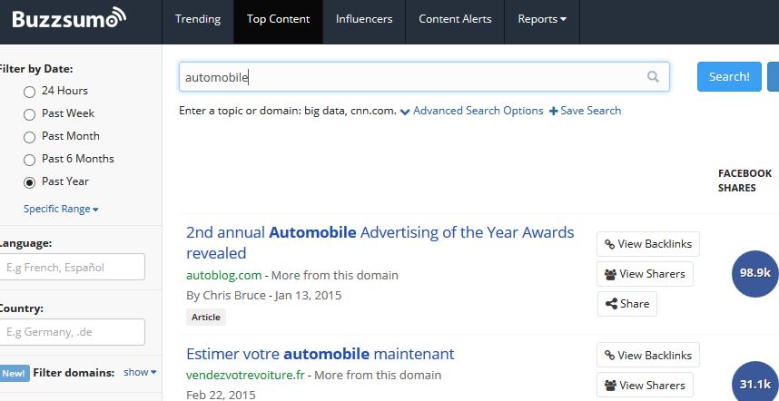Buzzsumo : recherche des influenceurs auto