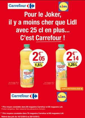 carrefour pub comparative low cost