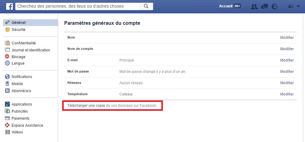 gestion des données utilisateur par Facebook
