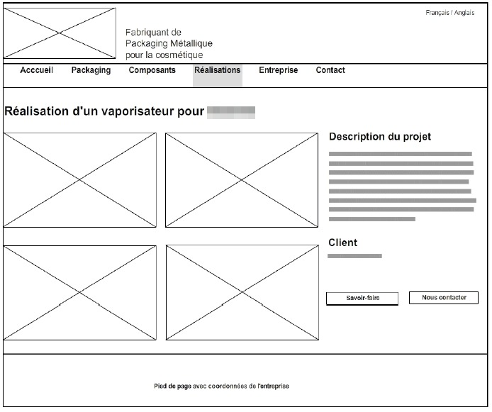 Exemple de wireframe d'un site web