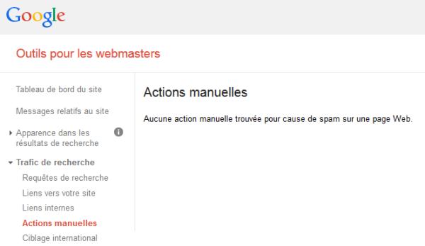 Actions Manuelles dans Webmastertools