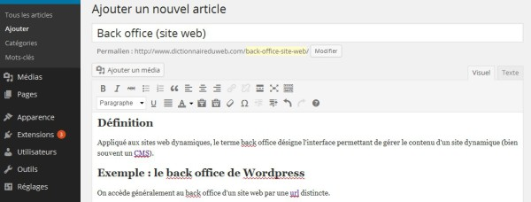 Back office wordpress