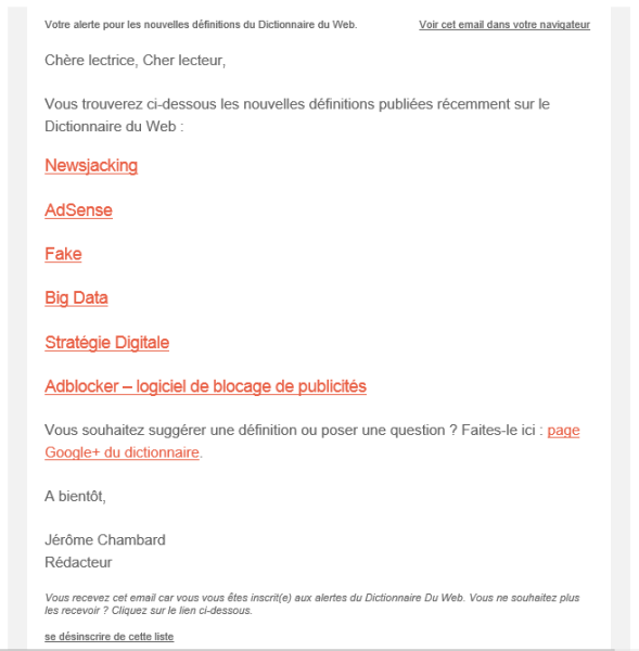 Newsletter du dictionnaire du web