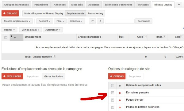 Campagne Adwords Display Sélectif