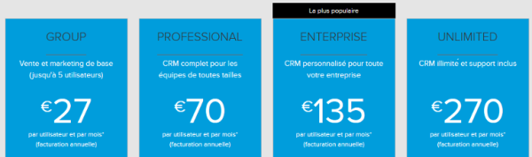 Tarification d'un CRM en mode SaaS