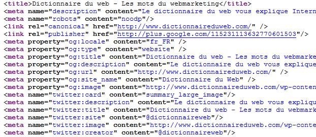 Métadonnées du dictionnaire du web
